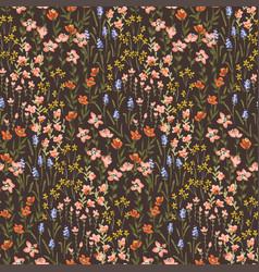 Ditsy darlings - midnight garden floral seamless vector