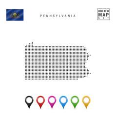 Dots pattern map pennsylvania stylized vector