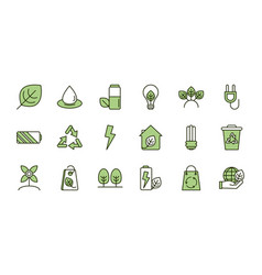 environment ecology icons collection line and fill vector image