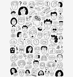 Faces people - hand drawn doodle set vector