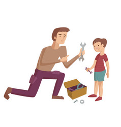 Father and child cartoon vector