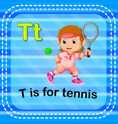 Flashcard letter t is for tennis vector