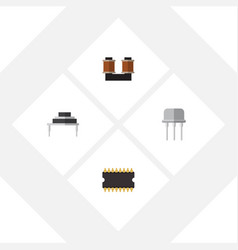 flat icon electronics set of coil copper vector image