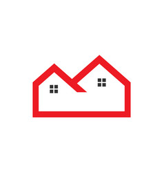 flat red outline real estate logo vector image