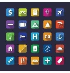 Flat travel icon set with shadow vector