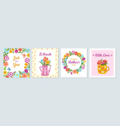 floral woman cards love banner womens day vector image