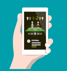 football game on cellphone soccer app on vector image