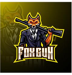 Fox gun esport logo design vector