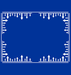 frame with arrows line art border blue and white vector image