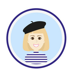 Girl face with blond hair and black beret vector