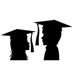 Graduates young man and woman vector