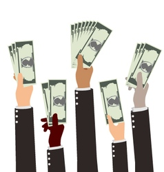 Group of Diversity Busibess Hand Holding Money vector