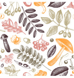 Hand sketched autumn plants seamless pattern vector