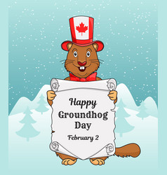 Happy groundhog day greeting card or a vertical vector