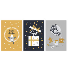 Happy holiday set of giftbox and cups with biscuit vector