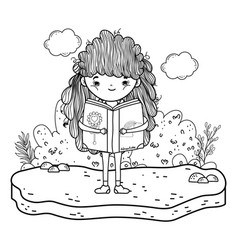 happy little girl reading book in the garden vector image