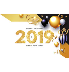 happy new 2019 year shining greeting card with vector image