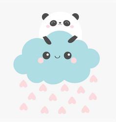Happy valentines day panda bear face holding vector