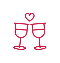 happy valentines day toast champagne glasses heart vector image