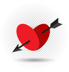 heart pierced by an arrow of cupid vector image