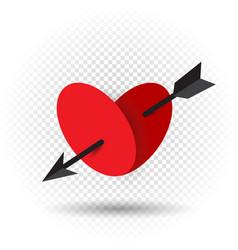 Heart pierced by an arrow of cupid vector
