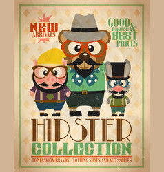 hipster collection animal hipsters vector image