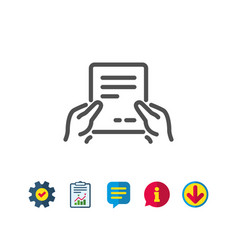 Hold document line icon text file sign vector