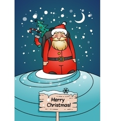 Holiday card with Santa Claus and winter landscape vector image