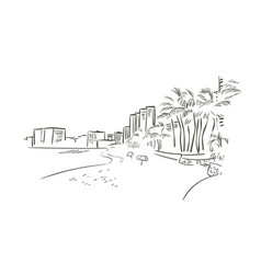honalulu hawaii sketch line usa landscape hand vector image