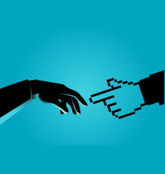 human hand touching pixelated hand vector image