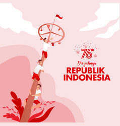 Indonesia independence day greeting card vector
