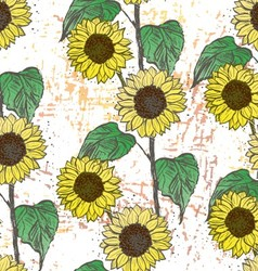 Ink hand drawn sunflowers seamless pattern vector