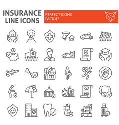 insurance line icon set healthcare symbols vector image
