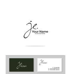 J e je initial logo signature handwriting vector