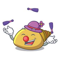 Juggling mollusk shell mascot cartoon vector