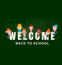 Kids back to school banner background vector