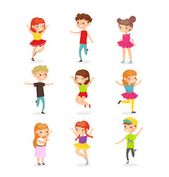 kids jumping flat set joyful vector image