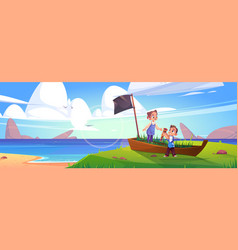 kids play in pirates on sea beach with old boat vector image