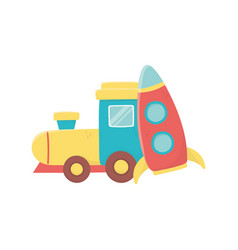 Kids toy train wagon and plastic rocket toys vector