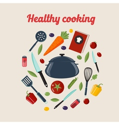 Kitchen Healthy Cooking Concept vector