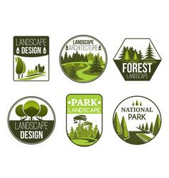 landscape design service icons vector image