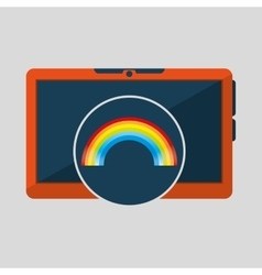 Laptop technology weather forecast rainbow icon vector