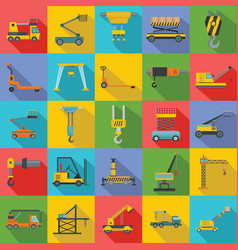 lifting machine icons set flat style vector image