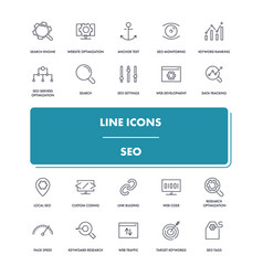line icons set seo vector image