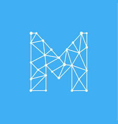 logo letter m dots lines vector image