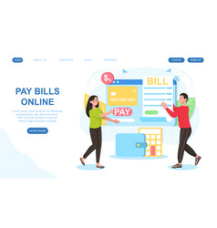 Male and female characters are paying bills online vector