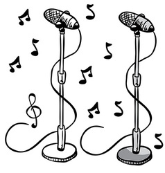 Microphone on a stand vector