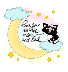 Moon kitty color set vector