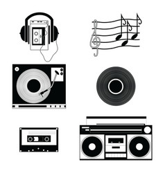 Music players and components vol 1 in black-white vector image
