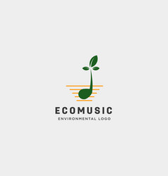 Music symbol leaf nature simple logo template vector